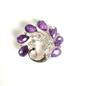 NWOT Purple Peacock Brooch Clear Accent Stones